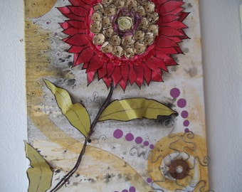 "Original mixed media collage ""Red flower with Suns"""