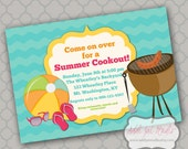 Summer Cookout printable 5x7 4x6 or 4x5.5 party invitation
