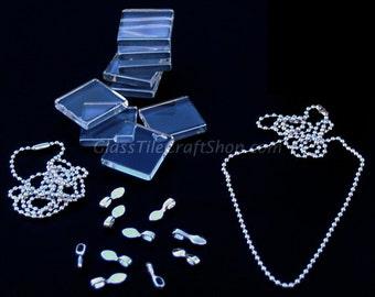 Glass Tile Pendant Necklace Pack - 20 (20 Glass Tile, 20 Bails, 20 Silver Necklaces). (KITSQBCCB)