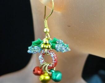 Vintage Christmas Glittery Jingle Bell Dangle Earrings