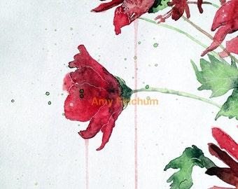 Red Peonies - Print