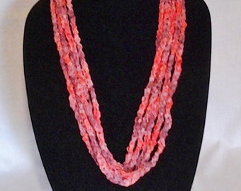 Coral Varigated Suede Circle Ribbon Crochet Chain Scarf Necklace