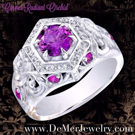 unique engagement ring radiant orchid pink purple sapphire