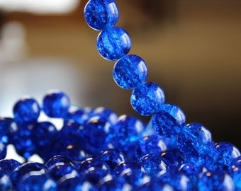 80 approx. blue 10 mm crackle glass beads, 1.5 mm hole, round