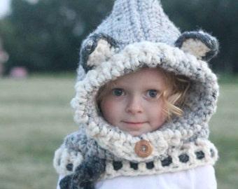 Wolf hood - wolf cowl - wolf scarf - wolf - wolf hat - kids hat - kids scarf - child scarf - crochet
