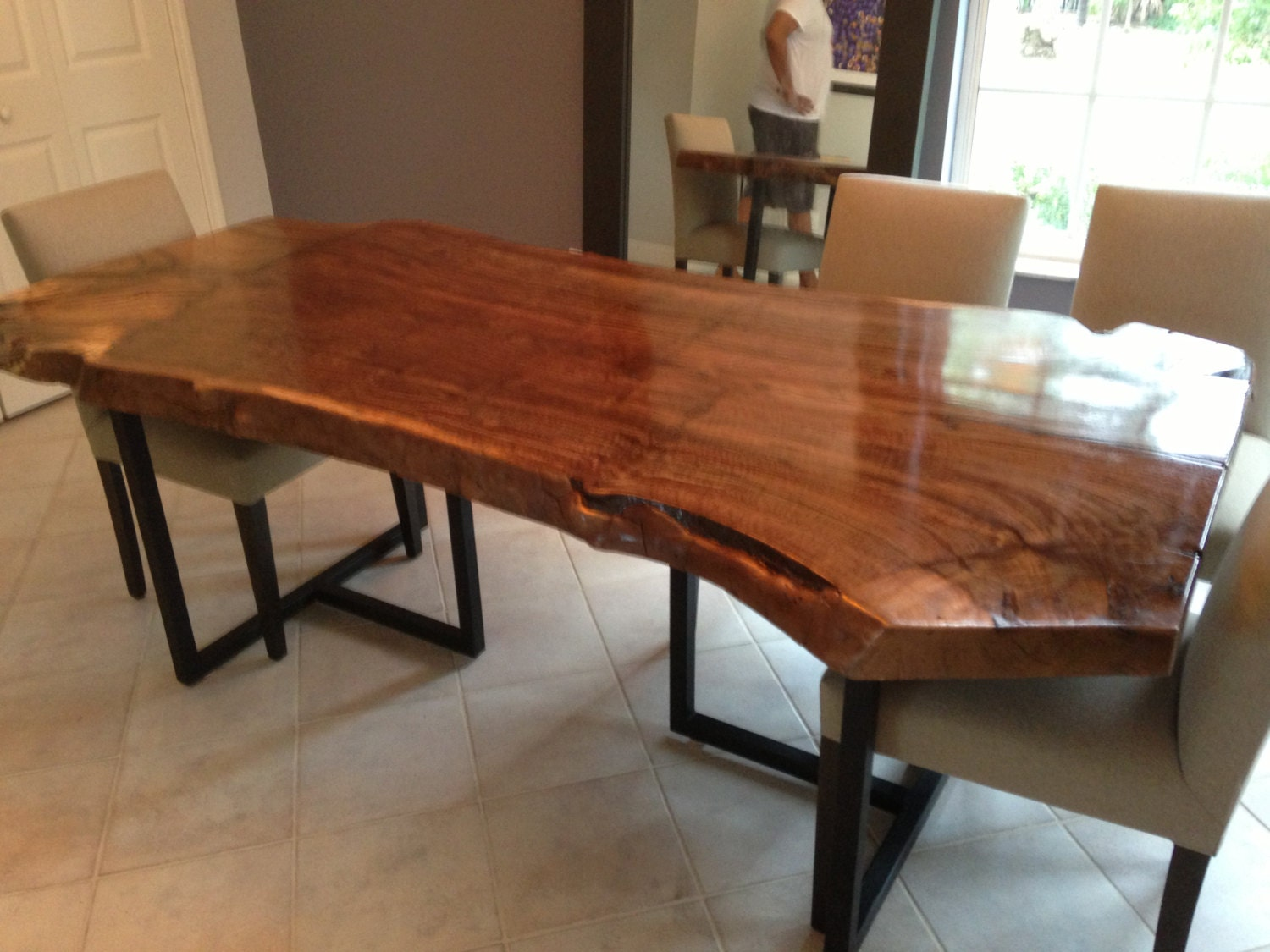 live edge dining table walnut slab table wood slab table. Black Bedroom Furniture Sets. Home Design Ideas