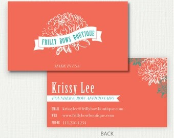 Coral Crysanthemum Business Card (FREE SHIPPING)