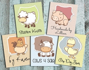 Cute Farm Animal Fabric Labels – 1.25 x 1.5″– Your Name Added – Custom Sizes, Fold-over or Flat – Textured Backgrounds – Colorfast – Uncut