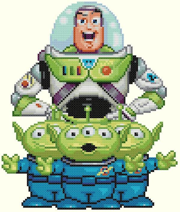 Buzz Lightyear and Aliens Cross Stitch Pattern-Disney Toy