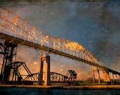 Art, Photography, Wall Art,  International Bridge, Sault Ste Marie Bridge, Golden bridge, Bridge Walk, Bridge Photo, Sault Bridge, Blue Gold