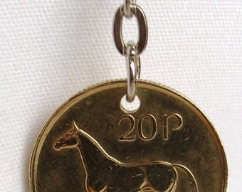 1995 Old Large 20p Twenty Pence Irish Coin Keyring Key Chain Fob 22nd Birthday