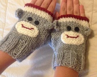 Fans of the Sock Monkey - Hand-Knit Fingerless Gloves