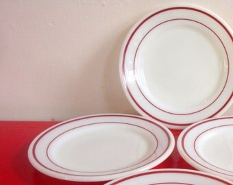 Pyrex Tableware Ruby Band Plates
