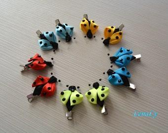 Ladybugs kanzashi, a set of 2 pieces