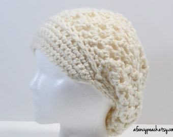 Women's Crochet Lacy Slouchy Hat with Brim, Ready to Ship