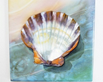 Shell Tile Trivet Watercolor