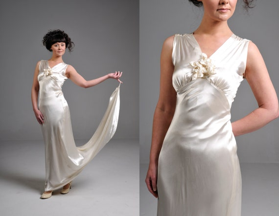 Vintage 20s Ivory Silk Satin Wedding Dress With Matching Lace
