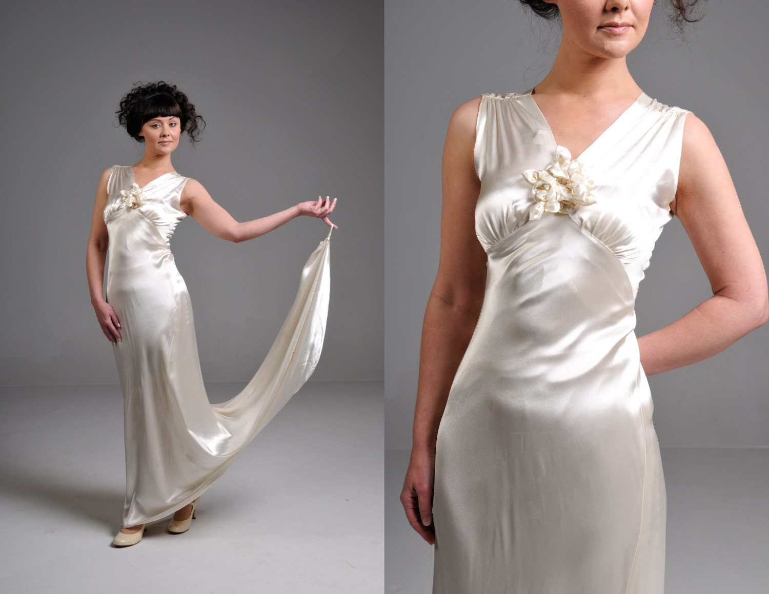 Vintage 20s ivory silk satin wedding dress with matching lace for Satin silk wedding dresses