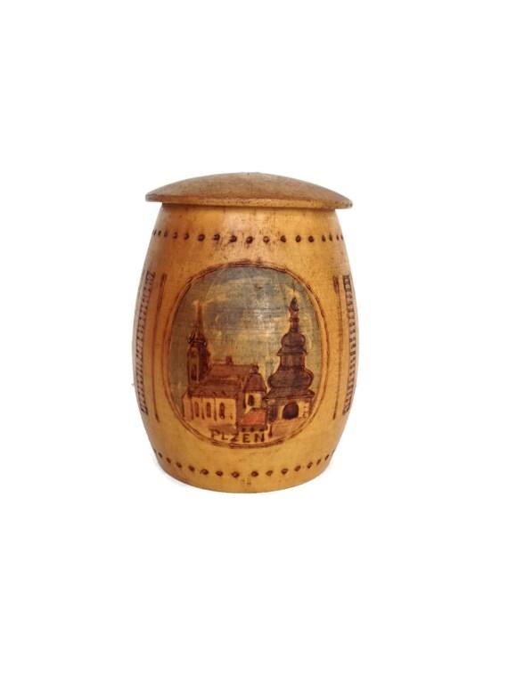 Wooden souvenir cup lidded mug Plzen, Czech Republic gifts for men