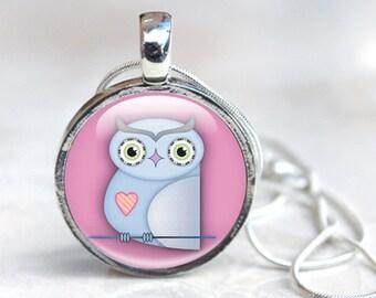 Owl Necklace, Cute Owl Pendant - Owl Glass Pendant Necklace - Pink Owl Pendant (owl 6)