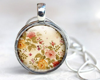 Vintage pattern jewelry, Floral Pattern Necklace, Glass Necklace, Flowers, Glass Photo pendant, picture pendant, photo jewelry yellow orange