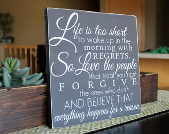 Painted Custom Quote Wood Sign - hand painted lettering wall words home decor