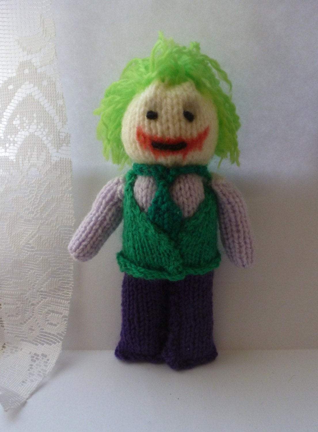 Joker Batman knitted doll by NerdKnitting on Etsy