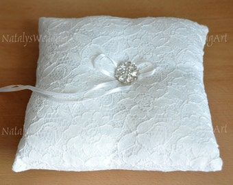 Lace ring pillow Ring Bearer pillow Lace Wedding ring pillow Made from French lace WHITE or IVORY