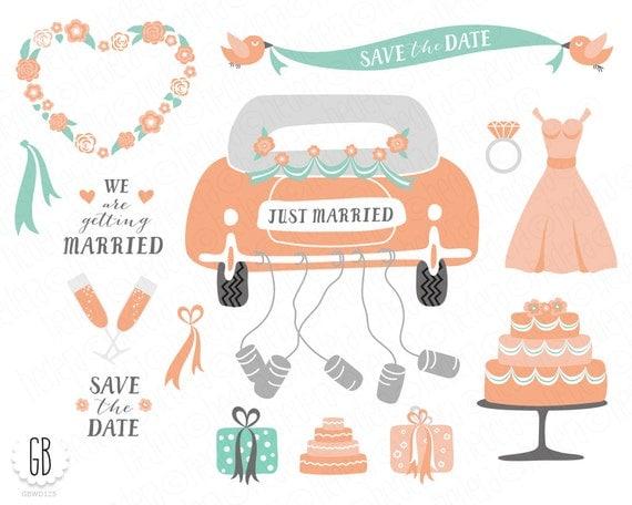 Hochzeit ClipArt gerade geheiratet Retro-Auto Dosen