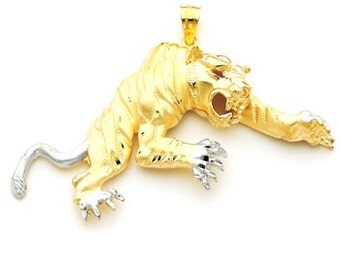 14k gold two tone tiger pendant.
