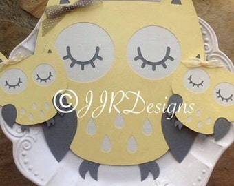 Owl Cut Outs - Owl Die Cut- Yellow/Gray Owl- Birthday Party-Baby Shower Owl-Diaper Cake Owls- Centerpiece Owls