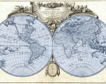 Antique style 1775 Hemisphere Projection Map of the World Poster Print