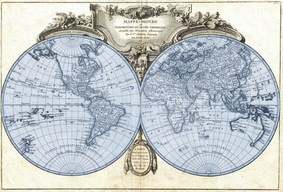 Antique style 1775 Hemisphere Projection Map