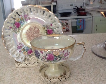 Lovely Luster Ware Cup And Saucer/Luster Ware/ Vintage Luster/Collectible Luster ware/ Victorian Luster ware