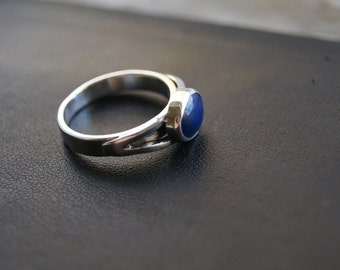 Onyx Black Agate Silver And Copper Ring Size 5