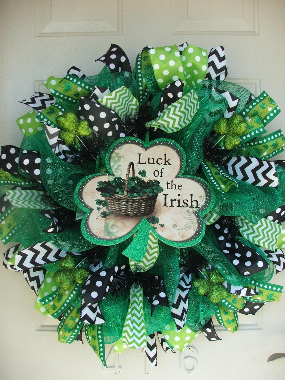 st patricks day shamrock luck of the irish deco mesh wreath. Black Bedroom Furniture Sets. Home Design Ideas