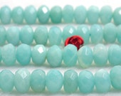 70 pcs of Natural Amazonite  faceted rondelle beads in 5x8mm