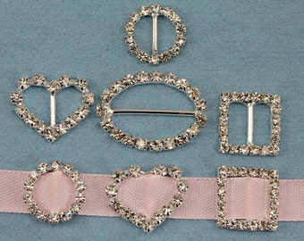 20 Pieces Assorted Crystal Rhinestone Ribbon Buckles For Card Making And DIY Wedding Invitations