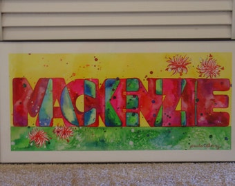 Kids name painting, personalized wall art, baby shower gift, birthday gift