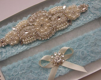 Something Blue Garter / Garter / Crystal Rhinestone & Pearl Garter / Wedding Garters / Bridal Garter Set / Vintage Inspired Lace Garter