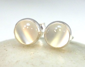 Moonstone Stud Earrings Sterling Silver 6mm .. Moonstone Studs .. Moonstone Jewelry