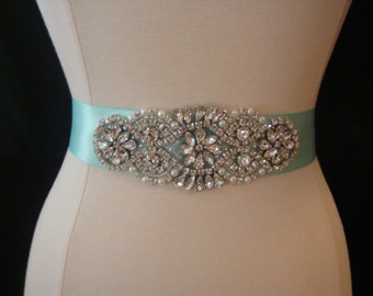 Aqua Bridal Sash - Rhinestone Wedding Belt - Bridesmaid Sash - Wedding Dress Belt - Prom Belt - Crystal Sash - Rhinestone Belt - Gown Sash