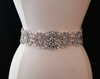 Bridal Sash - Wedding Dress Sash Belt - Rhinestone and Pearl Champagne Wedding Sash - Champagne Rhinestone Bridal Sash