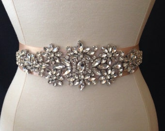 Bridal Sash - Wedding Dress Sash Belt - Crystal Rhinestone Wedding Sash - Blush Rhinestone Bridal Sash