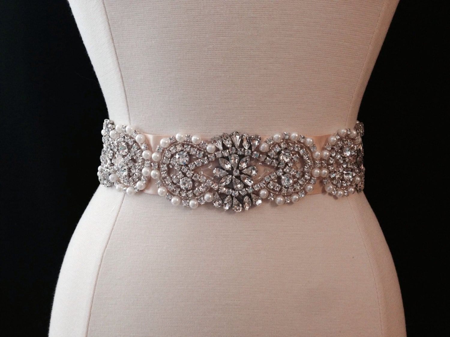 Bridal sash wedding dress sash belt rhinestone and pearl for Rhinestone sash for wedding dress