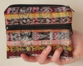 Recycled Fair Trade Coin Purse, Eco Friendly Re-Purposed Mayan Skirt Fabric, 3 Zipper Pockets