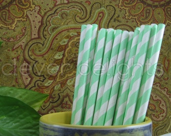 "50 Mint Stripe Paper Straws - 7 3/4"" - Eco-Friendly Biodegradable Paper Drinking Straws - Wedding Party Shower Reception Celebrations"