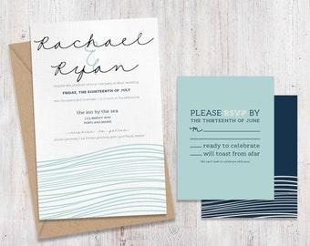 Coastal Ocean Beach Wedding Invitations