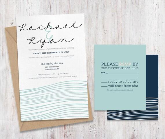 Etsy Beach Wedding Invitations: Coastal Ocean Beach Wedding Invitations