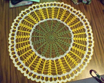 White, yellow and Olive green doily (21.5 inch )